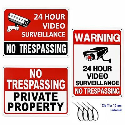 3 Pack No Trespassing Security camera Warning Sign UV Protected Rust Free 10*7in