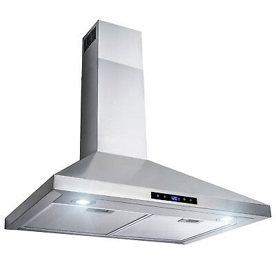 "30"" Stainless Steel Wall Mount Range Hood Touch Panel Mesh Stove Kitchen Vent"
