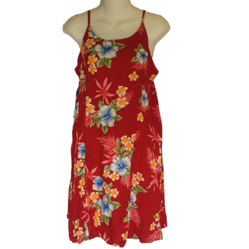 Tiki Palm Dress Large Mini Spaghetti Straps Hawaiian Tiki Oasis Cruise Beach