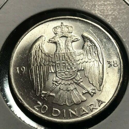 1938 YUGOSLAVIA SILVER 20 DINERA BRILLIANT UNCIRCULATED COIN