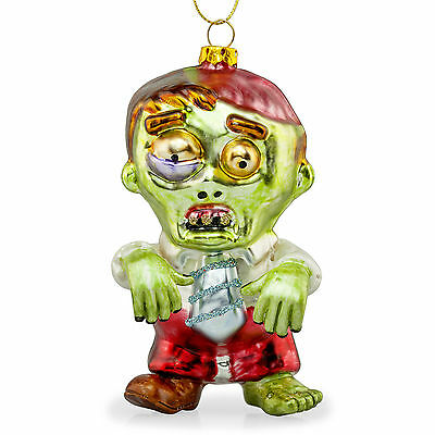 Zac the Zombie Novelty Glass Hanging Christmas Bauble Tree Decoration Horror