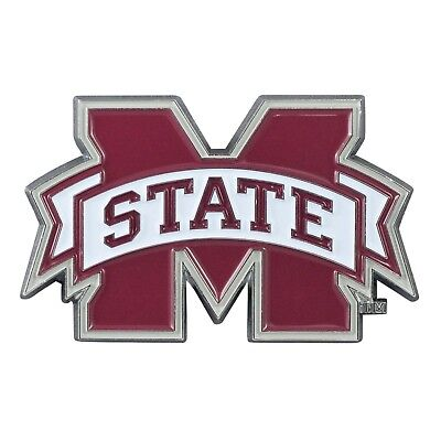 Mississippi State Bulldogs Tri Colored Chrome Auto/Car Emblem, Football Fan Gear - Mississippi State Bulldogs Gear