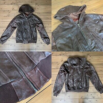 MENS LEATHER JACKET 🔸 HOODED / BROWN 🔸 RETRO / VINTAGE 🔸 SIZE: 38 / MEDIUM