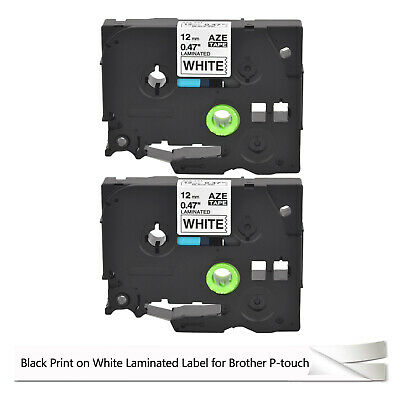 2pk Tze Tz 231 Black On White Label Tape For Brother P-touch Pt-h100 12mm 26.2ft
