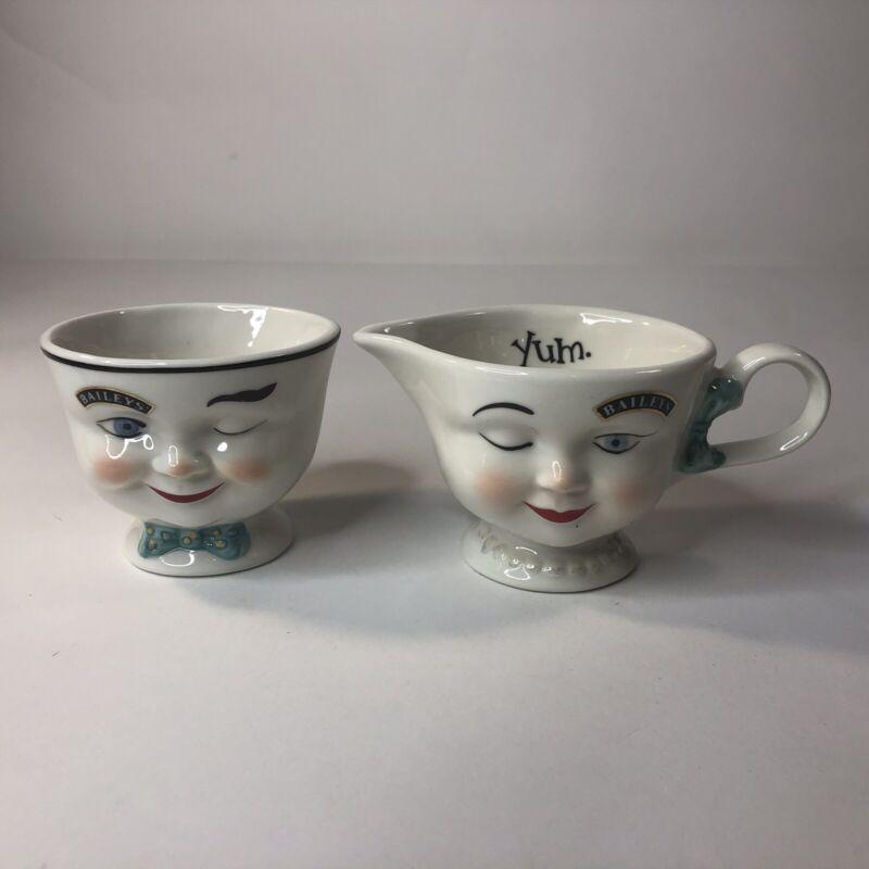 Baileys Vintage Mr & Mrs Yum Winking Face  Coffee Mug Cups LIMITED EDITION Set 2