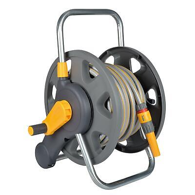 Hozelock 45m Garden Hose Reel Compact Freestanding with 25m Hose & Manual Rewind