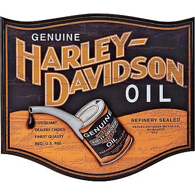 Retro Vintage Harley-Davidson Genuine Oil Can Logo Wooden Bar Pub Wall Sign