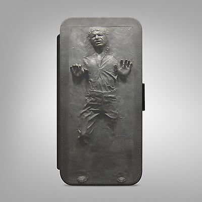 HAN SOLO CARBONITE STAR WARS LEATHER FLIP WALLET PHONE CASE COVER IPHONE SAMSUNG