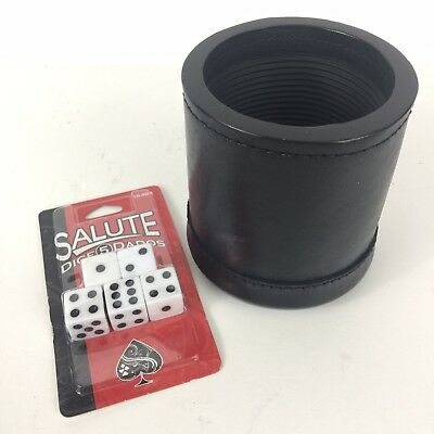Professional Dice Cup (GENUINE LEATHER DICE CUP BOX PROFESSIONAL QUALITY NEW RIBBED Inc. 5 Salute)