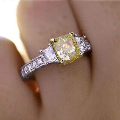 2.25 Ct Cushion Cut Canary Antique Hand Carved Diamond Engagement Ring VS1 GIA 6