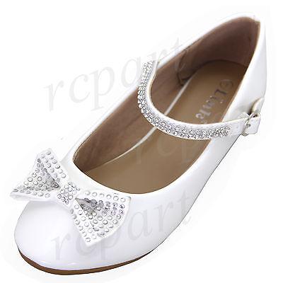 Girls Flower Girl Shoes (New girl's kids buckle closure white synthetic patent flower girl dress)