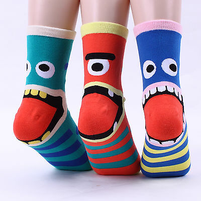 Monsters Tongue Crew Socks (4-PACK) Women Kids Funny Crazy Heel Dot Fashion CD