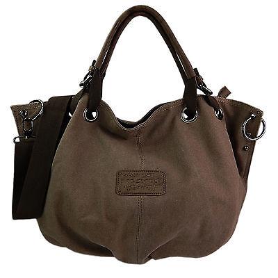 Tasche Braun Stoff Handtaschen (Canvas Tasche Shopper Umhängetasche Damentasche Handtasche Baumwollstoff ~ braun)