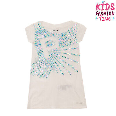 PINKO UP Longline T-Shirt Top Size S / 6Y Sequined Embroidered Raw Neckline