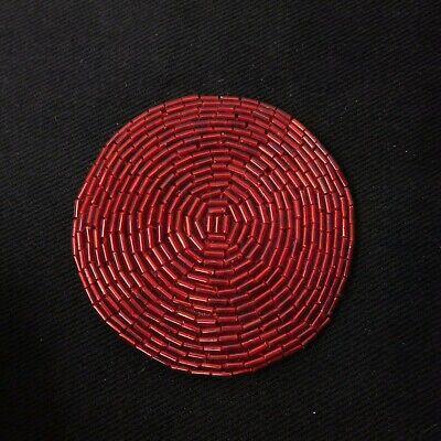 VINTAGE 80s Rocker Glam Red Seed Bead Beaded Round Belt Buckle](80s Glam Rocker)