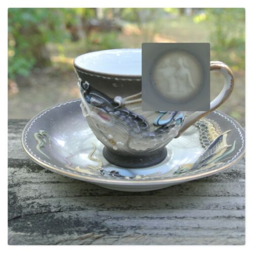 Vintage Dragon Ware ~Double Nude~ Lithophane Tea Cup and Saucer made in Japan