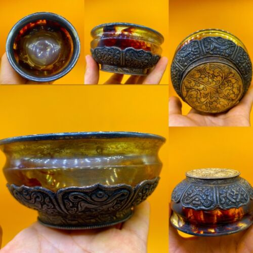 900 - 1000 AD VIKING ERA NORSE SILVER WITH AMBER STONE DRINKING CUP