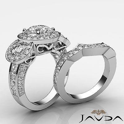 3 Stone Round Diamond Engagement GIA F VS2 14k White Gold Bridal Set Ring 2.77ct