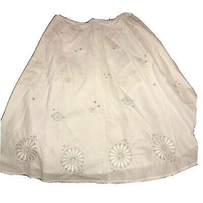 Rafaella White Midi Skirt With Floral Embroidery Size 8