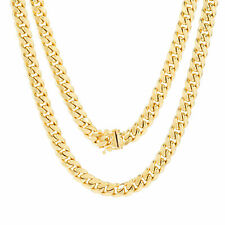 10K Yellow Gold 3.5mm-17mm Real Miami Cuban Link Necklace Chain Bracelet 7