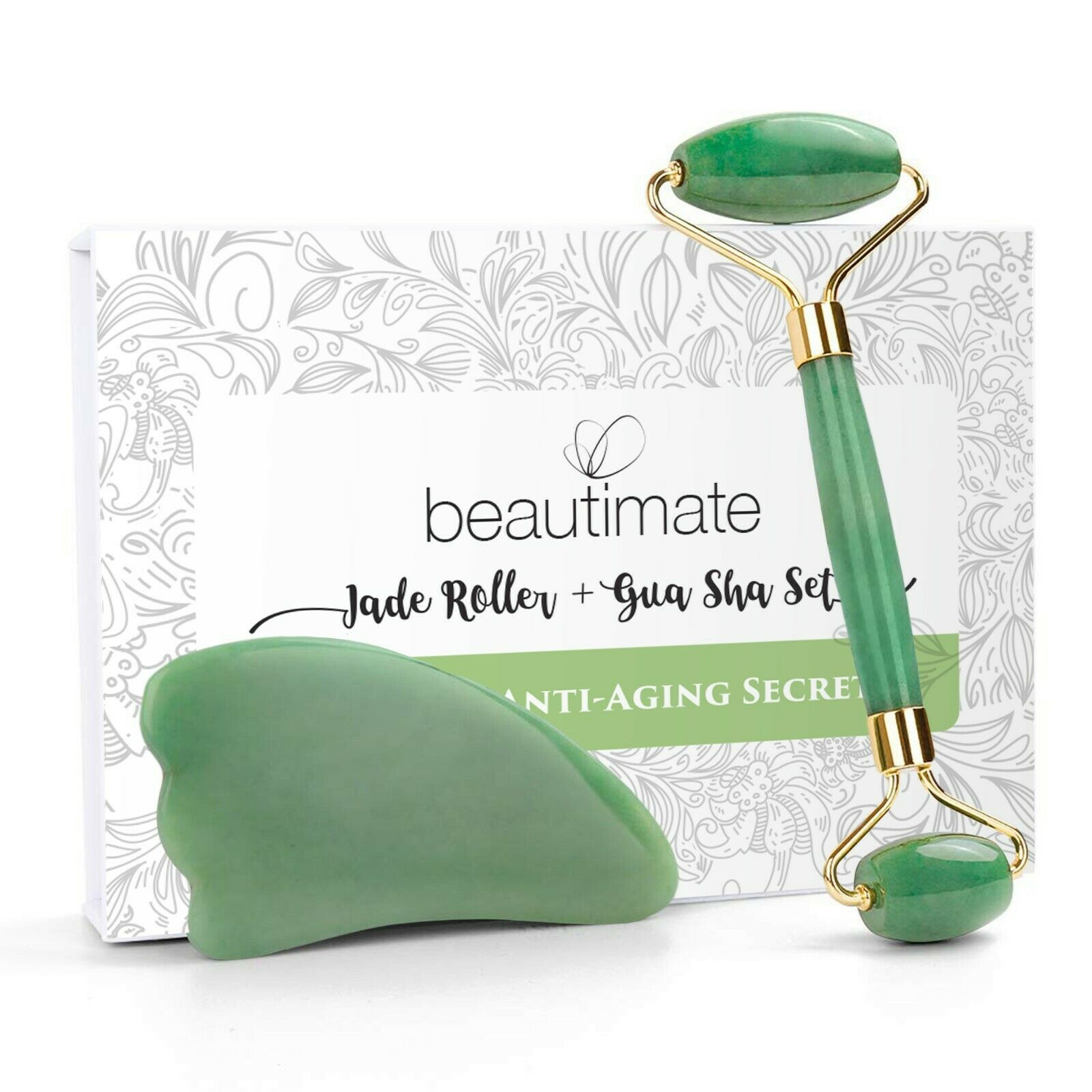 Jade Roller for Face & Gua Sha Scraping Massage Tool Anti Aging & Wrinkle Tool