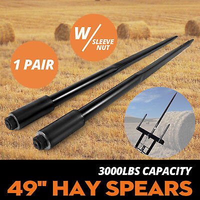 Two 49 3000 Lbs Hay Spears Nut Bale Spike Fork Tine Nut Included Sleeve Included