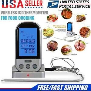 Wireless Remote Digital Cooking Food Meat Thermometer With Probe Kitchen USA