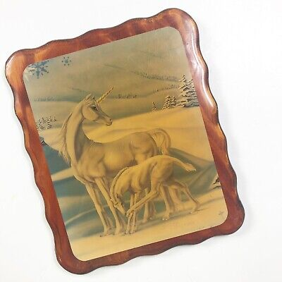 Sue Dawe Signed Vintage 1985 UNICORNS Mama and Baby Wall Art on Wood Lacquered
