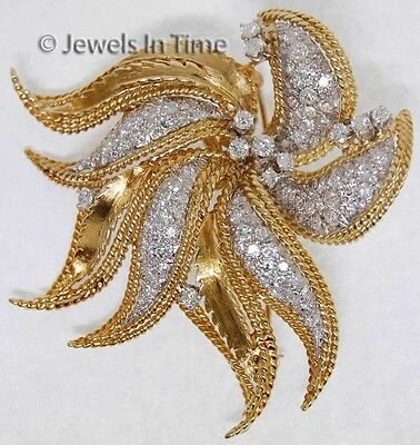 Ladies 18K Yellow & White Gold Diamond Floral Brooch