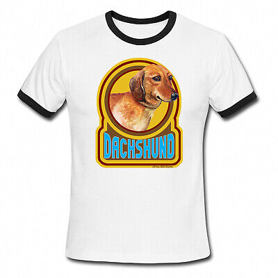DACHSHUND Dog Mens Ladies Ringer T-Shirt Retro Style Gift Birthday