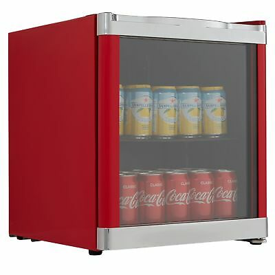 Cookology MBC46RD Glass Door Beverage & Wine Cooler, Mini Drinks Fridge in Red