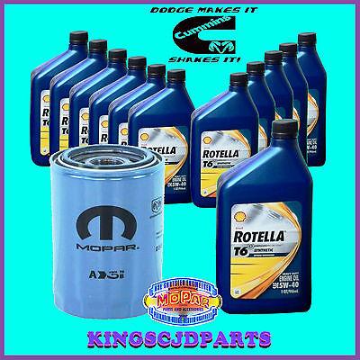 Oil Filter & Rotella T6 Synthetic 5W40 Oil 5.9  6.7 Cummins Diesel Dodge Ram OEM (Mopar 5w40)