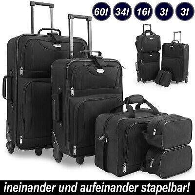 Kofferset Reisekoffer 5 Taschen Trolley Reise Koffer Set Tasche S M L XL schwarz✅mit 2 Kulturbeuteln  ✅Ineinander Stapelbar ✅Klickgurt