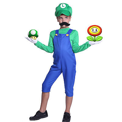 Boys Nintendo Super Mario Luigi Bros Fancy Dress Book Week Costume Set of 5 New](Boys Luigi Costume)