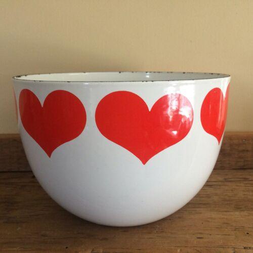 "Vintage Arabia Finland Heart Enamel Bowl Red White Kaj Franck Enamelware 8 1/2"""