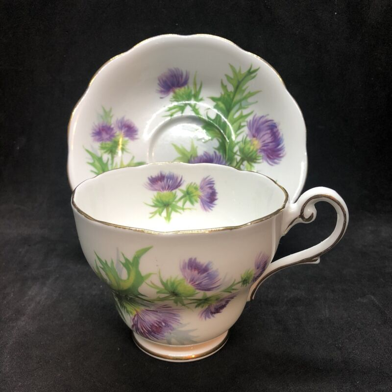 VTG Royal Standard Scots Emblem Teacup & Saucer Thistle Scotland