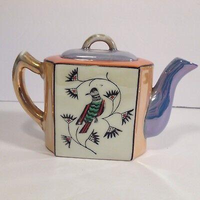 Vintage Japanese Lusterware Porcelain China Teapot Individual Art Deco Rectangle