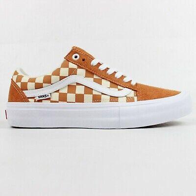 Vans Old Skool Pro Shoes (Checkerboard) Golden Oak Skateboard Trainers Unisex