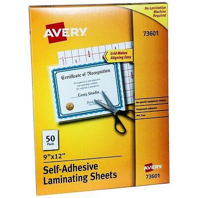 Avery 73601 Self Adhesive Laminating Sheets 9x12 Box Of 50 Sheets