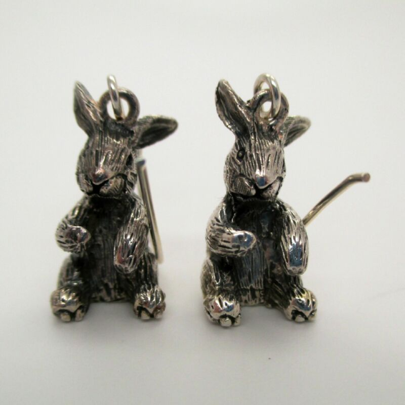 Sterling Silver BUNNY RABBIT EARRINGS Easter Sunday EASTER JEWELRY Dangle DROP