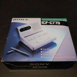Sony Dual Alarm Digital Clock AM-FM 2 Band Radio ICF-C770 With Tilt Display NIB