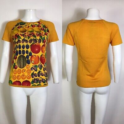 Rare Vtg Gucci by Tom Ford 1996 Fruit Print Knit Top S