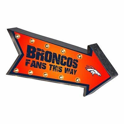 Denver Broncos Arrow Marquee Sign - Light Up - Room Bar Decor NEW 18