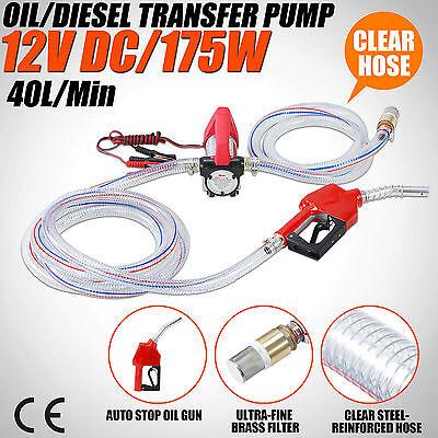 Protable 12V DC Electric Fuel Transfer Pump Diesel Kerosene Oil Auto