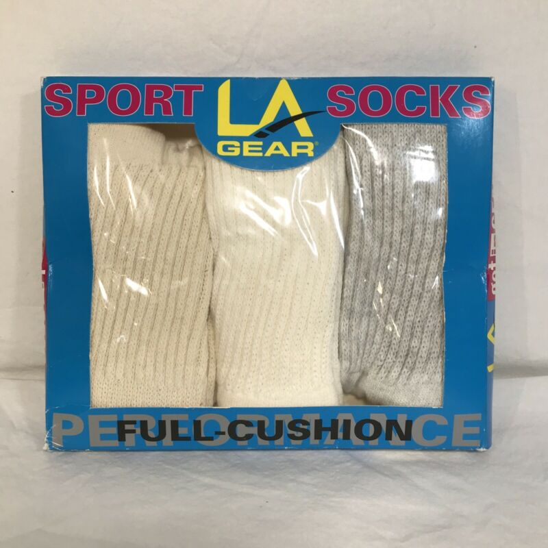 VTG LA Gear Full Cushion Performance Sport Socks Womens Size 9-11 NOS 3 Pack