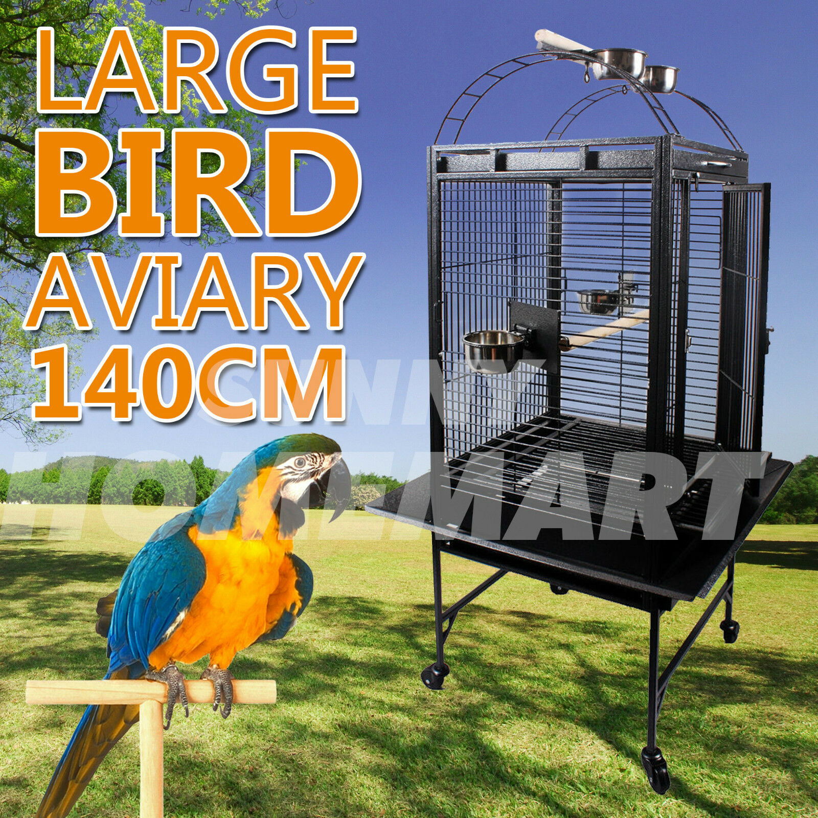 1 x New Large Black Open Roof Pet Bird Parrot Canary Cage Castor Wheels 180CM