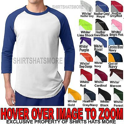 Mens 3/4 Sleeve Colorblock Raglan Baseball Jersey T-Shirt XS-XL 2X 3X 4X 5X 6X (Colorblock Raglan Jersey Shirt)