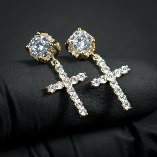 Men Gold Sterling Silver Iced Round Stud Cross Dangle Drop Huggie Hoop Earrings