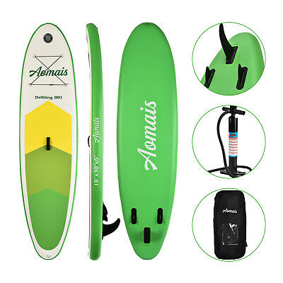 10 Inflatable Stand Up Paddle Board Surfboard Sup Adjustable Fin Paddle Green