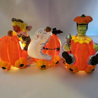 Halloween Spooky Hollow Lighted Porcelain 1997 Halloween Pumpkin Express Set